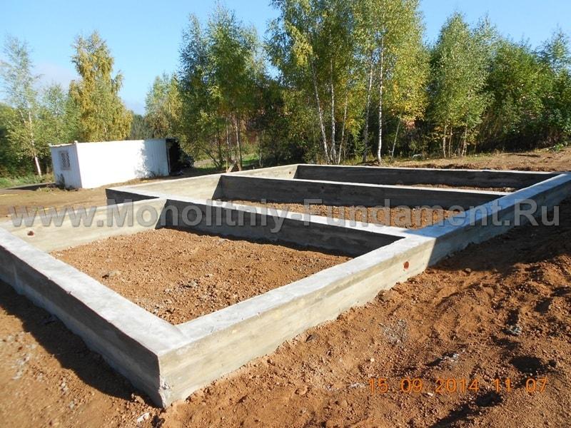 Ленточный монолитный фундамент, строительство фундамента